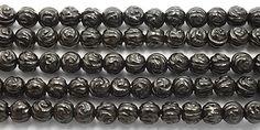 """K18-BAGT8  Black Agate Carved Flower Rnd. 8.2-8.3mm 15"""""""