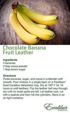 A tasty Hurricane & Winter Storm Prep Snack: Chocolate Banana Fruit Leather! Fig Fruit, Banana Fruit, Banana Chips, Dried Fruit, Homemade Fruit Leather, Fruit Leather Recipe, Canning Recipes, Raw Food Recipes, Bento