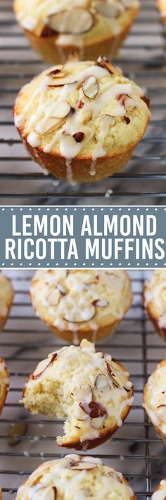 Lemon almond ricotta muffins just scream SPRING! These spongy muffins are moist from the ricotta cheese and flavored with fresh lemon juice and rind for a brightly flavored muffin, all topped with an easy almond glaze.