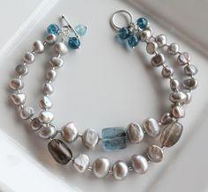 Stormy Skies Bracelet - Blue Kyanite and Silver gray pearls