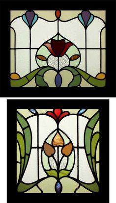 Stained glass Art Nouveau panels