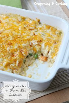 Cheesy Chicken and Brown Rice Casserole-No cream of anything or canned ingredients! www.couponingncooking.com