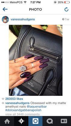 Vanessa Hudgens nails. Matte Amethyst. Long nails. Acrylic nails. Dark purple nails.