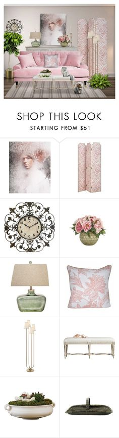 """""""Color Dogwood"""" by signaturenails-dstanley ❤ liked on Polyvore featuring interior, interiors, interior design, home, home decor, interior decorating, Infinity Instruments, Casa Cortes, Loom and Mill and AERIN"""