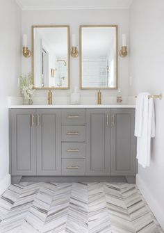 Gray + Gold Bathroom.