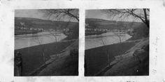 Paisaxe do río Miño. Lugo. Ca. 1900. Imaxe estereoscópica. Placa de cristal con emulsión de bromuro lento e clorobromuro rápido. 8,9 x 17,8 cm.