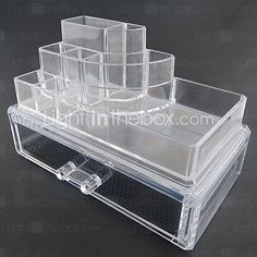 Acrylic Transparent Complex Combined Double Layer Cosmetics Storage with Drawer Cosmetic Organizer - USD $19.99