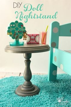 This is such a cute diy to make a doll sized nightstand. Perfect craft to make doll furniture for our American Girl Dolls.