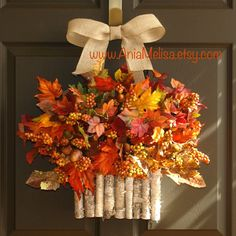 fall wreath, autumn wreath, berry wreath, Thanksgiving wreath birch bark vases, birch bark wreath, burlap bow bestseller harvest basket arrangement BEST SELLER - FALL 2017, 2016, 2015, 2014 This listing is for beautiful fall colors wreath/ door arrangement. The perfect front door or wall