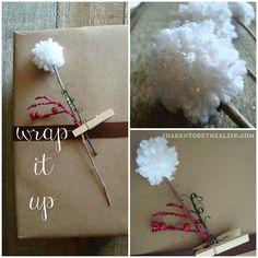 How to Make Snow Sprinkled Pom Pom Flowers!  {great for embellishing gift wrap!}