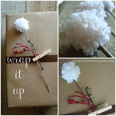 DIY Snow Sprinkled Pom Pom Flowers