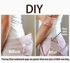This post contains a great tip for altering store bought pants to fit you perfectly. Get the complete tutorial here.