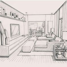 Home Decoration Ideas Images Info: 9477844871 Interior Architecture Drawing, Architecture Concept Drawings, Drawing Interior, Interior Design Sketches, Interior Design Website, Interior Rendering, Architecture Design, Room Perspective Drawing, One Point Perspective Room