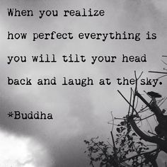 """When you realize how perfect everything is you will tilt your head back and laugh at the sky."" <3 Buddha"