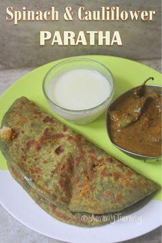 Spinach & Cauliflower Paratha Recipe - Easy Stuffed Paratha Recipe