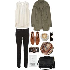 White sleeveless blouse with cutouts, tribal infinity scarf, brown leather Oxford shoes, black skinny jeans, olive green utility jacket -- maybe add a grey cardigan for cooler weather