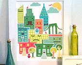"""This adorable illustrator captured my heart at the Craftacular.  This particular print, """"Friendly City,"""" is hopefully going to be adorning the wall of my niece's bedroom after Christmas - a reminder of her Aunt Sarah in NYC!"""