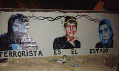 Segundo mural realizado por compas libertarixs en memoria de Santiago Maldonado, Luciano Arruga y Rafael Nahuel.  Plaza Luciano Arruga, 27 de enero de 2018.