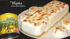 PRAJITURA FARA COACERE CU IAURT SI FRUCTE TROPICALE Romanian Desserts, Romanian Food, Sweet Tarts, Food Cakes, I Foods, Vanilla Cake, Cookie Recipes, Caramel, Deserts