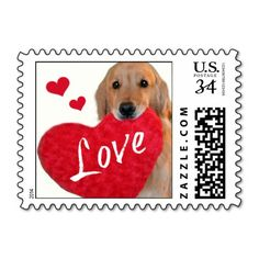 Golden Retriever Heart Love Postage Stamps by #AugieDoggyStore. Sold to a customer in Lanoka Harbor, NJ