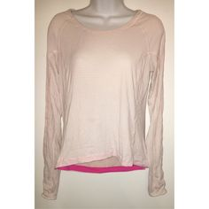 Lululemon Top Literally the softest athletic top I've ever put on in my life! I never wear long sleeve athletic tops so this top is in perfect condition, worn once! It fits like a medium. Has thumb holes and a cute opening on the back. Pale pink with grey stripes. lululemon athletica Tops Tees - Long Sleeve