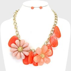 Coral Stones Peach Flowers Clear Centers Chunky Gold Chain  Fashion Necklace Set #FashionJewelry