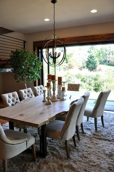 Dining Room opening to outdoors with Rustic Table. From House of Fifty blog