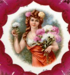 Royal Bavaria China Portrait Plate P M B Made in Germany Beautiful Lady Flowers | eBay