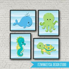 Under The Sea Creature Wall Art Poster Print 8x10 by itzwhimzeycal