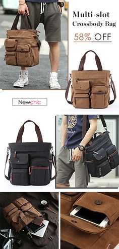 Men Canvas Large Capacity Multi-slot Crossbody Bag Business Computer Handbag  is hot-sale, many other cheap crossbody bags on sale for men are provided  on ... 67c3229ad0