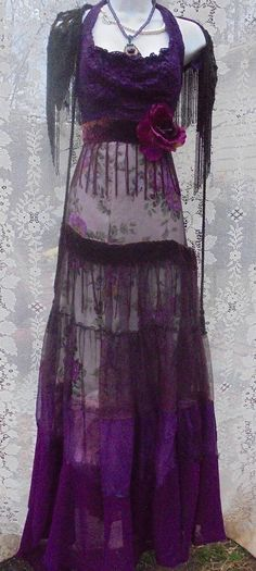 Purple floral dress handmade by vintage opulence on Etsy The top is a soft deep purple halter lace top, lined with a vintage lace sash . Full skirt consisting of an underskirt of purple printed flowers with purple chiffon in tiered layers over the top and fringed velvet trim Finished