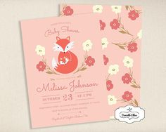 Feminine Floral - Woodland Fox Baby Shower Invitation for Fall and Winter  Baby Showers - Rustic DIY Printable Custom Invitation 1b642d8866