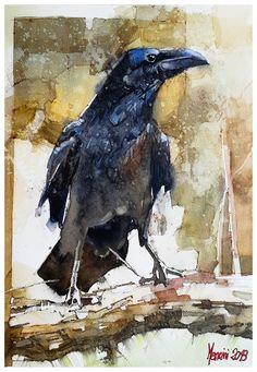 watercolor crow on Behance Crow Art, Raven Art, Bird Art, Watercolor Bird, Watercolor Animals, Watercolor Paintings, Watercolors, Crow Painting, Painting & Drawing