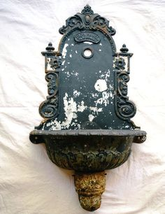 Antique Cast Iron French Lavobo: European Garden Wall Sink / Fountain / Planter - Ornate Floral Architectural Salvage with Distressed Patina Garden Sink, Garden Walls, Black Dog Salvage, Garden Fountains, Wall Fountains, European Garden, Antique Iron, Iron Wall, French Decor