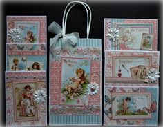 Graphic 45 Sweet Sentiments Handmade Greeting Cards with Gift Bag | eBay