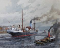 The Blue Funnel ASPHALION, one of the Melampus class of steam turbine driven cargo ships, she was built at Greenock in 1924. Here my painting shows the vessel leaving Gladstone docks on the River Mersey together with Rea Tugs.