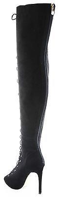 CR Thigh High Open Toe Stiletto Heel Lace Up Full Back Zipper Boots Black Nubuck