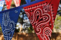 Blue & Red Bandana Banner Bunting, Western, Cowboy, Horse, Barn, Birthday party decoration, photo prop