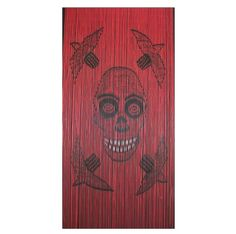 Skull is a 90 strand 90 x beaded door curtain featuring a smiling skull surrounded by four flying birds.