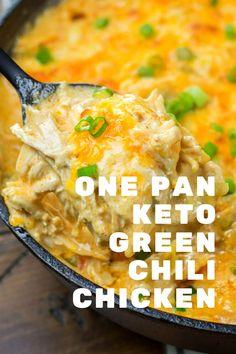 One Pan Keto Green Chili Chicken Zuchinni Recipes, Low Carb Vegetarian Recipes, Keto Crockpot Recipes, Broccoli Recipes, Easy Healthy Recipes, Easy Meals, Ketogenic Recipes, Ketogenic Diet, Cooking Recipes