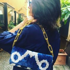 """Ikat fabric clutch """"jUst oNe collection"""" This clutch is a hybrid of the oldest weaving traditions and modern design. It's precious silk velvet fabric is hand-woven and it represent the source of livelihood of the Uzbek women). @etsy #vquadroitaly #valeriafittipaldi #pursebop #purselover #ikat #bohostyle #bohochic #boho #handbags #streetstyle #personalstyle #clutch #leatherclutch #mystyle #handmadehandbag #have2have #lfwaw16"""