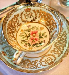 """""""Rose & Thistle"""" Paragon china teacup and saucer EIIR Coronation 1953 ~ Queen Elizabeth II"""