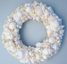 Beach Decor WHITE Seashell Wreath - Shell Wreath w Starfish - Elegant All White, 12inch