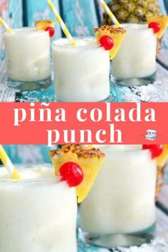 Super easy summer drink! We love this pina colada punch recipe! #summerdrink #summer #drink #slushy #adultdrink #cocktail #cocktailrecipe #coconut #pineapple #summerparty