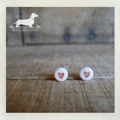 Heart to Heart Post Earrings  Heart Red White by PickleDogDesign, $9.00