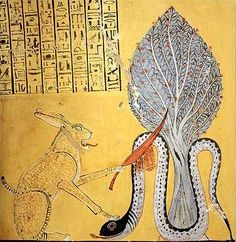 Ra, in the form of a Great Cat, slays the snake-god Apep. Thebes, wall painting from the tomb of Inher-kha, c. 1164-1157.