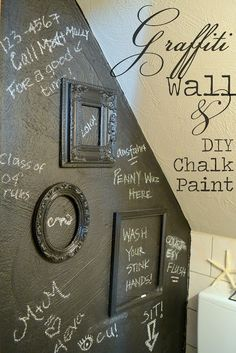 Graffiti Wall and DIY Chalk Paint - nice idea and learn to make your own Chalk paint with unsanded grout and your choice of color latex paint - MUCH cheaper than the Chalk board paint for sale at Home Improvement stores Chalkboard Wall Bedroom, Chalkboard Paint, Toilet Room, Downstairs Toilet, Small Toilet, Graffiti Wall, Bathroom Humor, Ikea Furniture, Ornaments