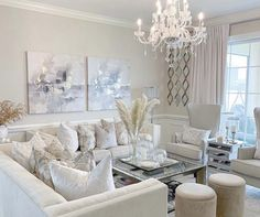 All white living room decor with white tufted sofas and white chairs White Living Room Chairs, Cream Living Rooms, Condo Living Room, Decor Home Living Room, Elegant Living Room, Living Room Grey, Living Room Designs, Home Decor, White Chairs