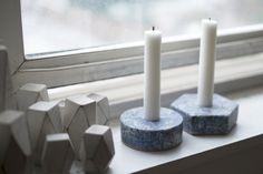 Limited-edition stone candle holders by Fort Standard
