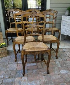 Vintage Ladder Back Chairs Sturdy Show Minimal Wear Beautiful